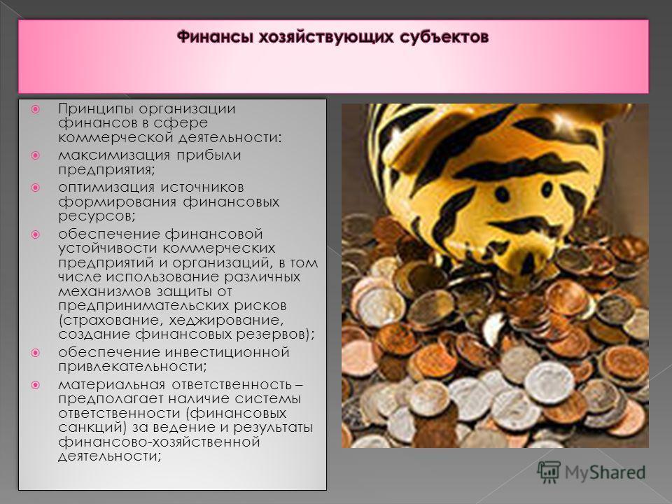 Принципы организации финансов в сфере коммерческой деятельности: максимизация прибыли предприятия; оптимизация источников формирования финансовых ресурсов; обеспечение финансовой устойчивости коммерческих предприятий и организаций, в том числе исполь