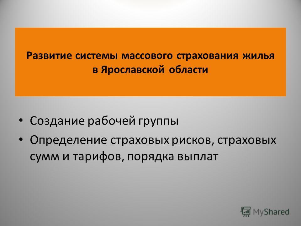 Развитие системы массового страхования жилья в Ярославской области Создание рабочей группы Определение страховых рисков, страховых сумм и тарифов, порядка выплат