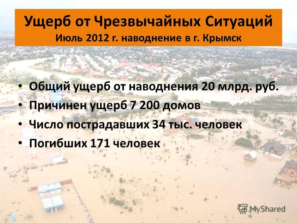 Ущерб от Чрезвычайных Ситуаций Июль 2012 г. наводнение в г. Крымск Общий ущерб от наводнения 20 млрд. руб. Причинен ущерб 7 200 домов Число пострадавших 34 тыс. человек Погибших 171 человек