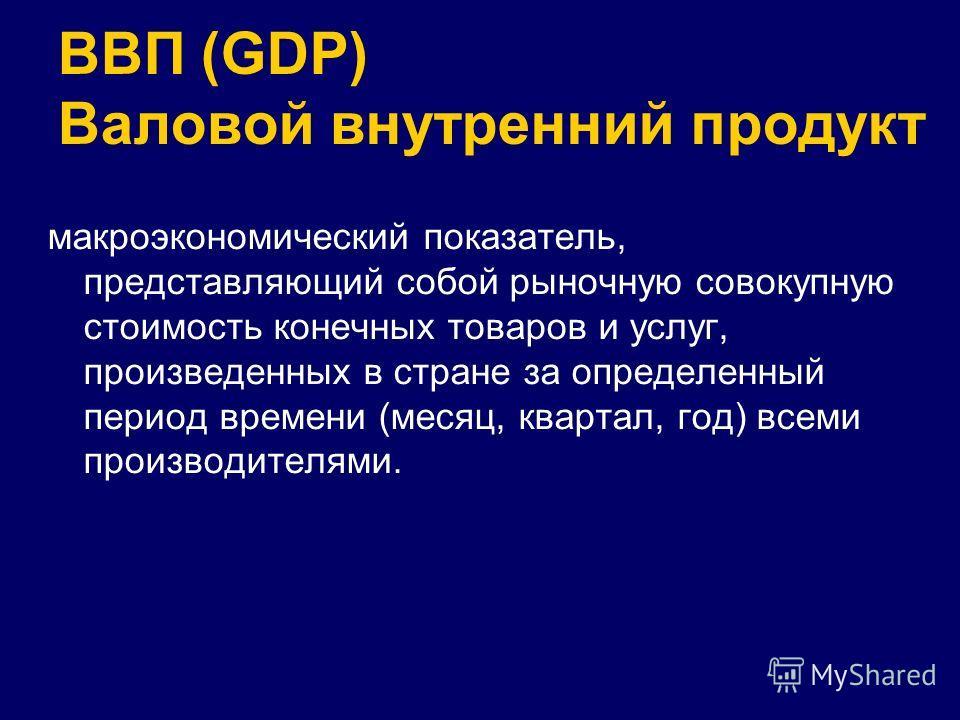 ВВП (GDP) Валовой внутренний продукт макроэкономический показатель, представляющий собой рыночную совокупную стоимость конечных товаров и услуг, произведенных в стране за определенный период времени (месяц, квартал, год) всеми производителями.