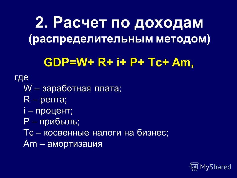 2. Расчет по доходам (распределительным методом) GDP=W+ R+ i+ P+ Тс+ Аm, где W – заработная плата; R – рента; i – процент; P – прибыль; Тс – косвенные налоги на бизнес; Аm – амортизация