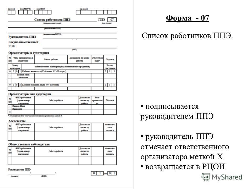 Форма - 07 Список работников ППЭ. подписывается руководителем ППЭ руководитель ППЭ отмечает ответственного организатора меткой X возвращается в РЦОИ