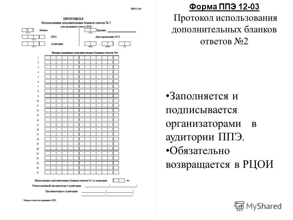 Форма ППЭ 12-03 Протокол использования дополнительных бланков ответов 2 Заполняется и подписывается организаторами в аудитории ППЭ. Обязательно возвращается в РЦОИ
