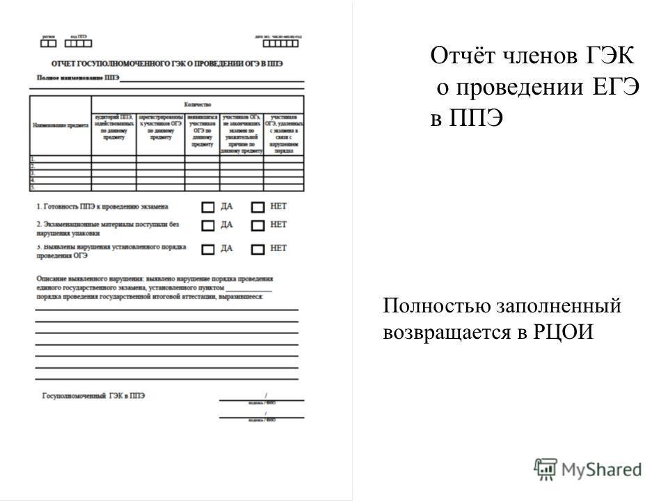 Отчёт членов ГЭК о проведении ЕГЭ в ППЭ Полностью заполненный возвращается в РЦОИ