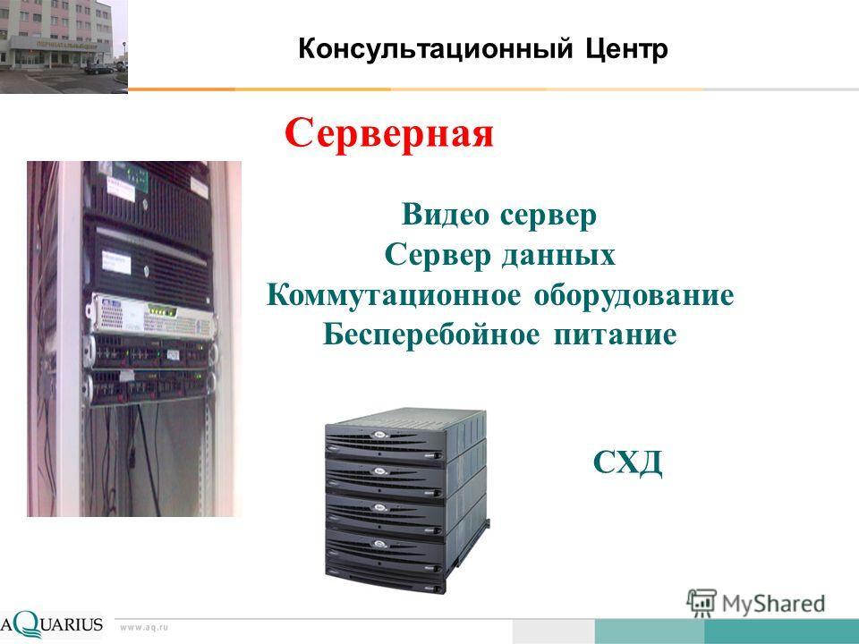 Консультационный Центр Серверная Видео сервер Сервер данных Коммутационное оборудование Бесперебойное питание СХД