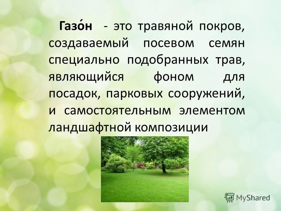 Газо́н - это травяной покров, создаваемый посевом семян специально подобранных трав, являющийся фоном для посадок, парковых сооружений, и самостоятельным элементом ландшафтной композиции