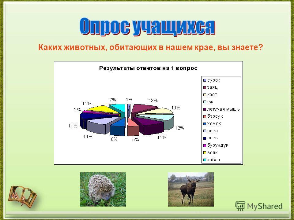 Каких животных, обитающих в нашем крае, вы знаете?