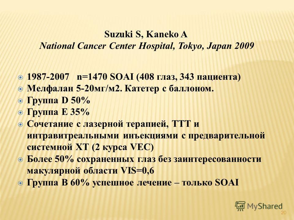 Suzuki S, Kaneko A National Cancer Center Hospital, Tokyo, Japan 2009 1987-2007 n=1470 SOAI (408 глаз, 343 пациента) Мелфалан 5-20мг/м2. Катетер с баллоном. Группа D 50% Группа E 35% Сочетание с лазерной терапией, ТТТ и интравитреальными инъекциями с