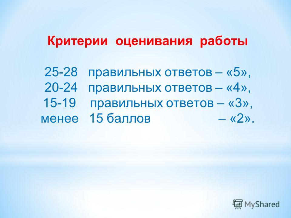 Критерии оценивания работы 25-28 правильных ответов – «5», 20-24 правильных ответов – «4», 15-19 правильных ответов – «3», менее 15 баллов – «2».