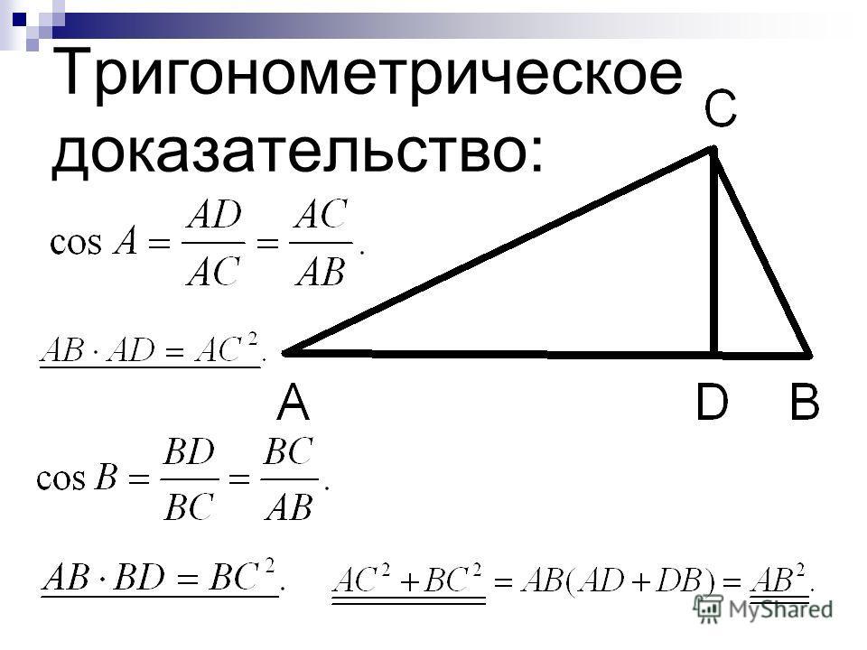 Тригонометрическое доказательство: