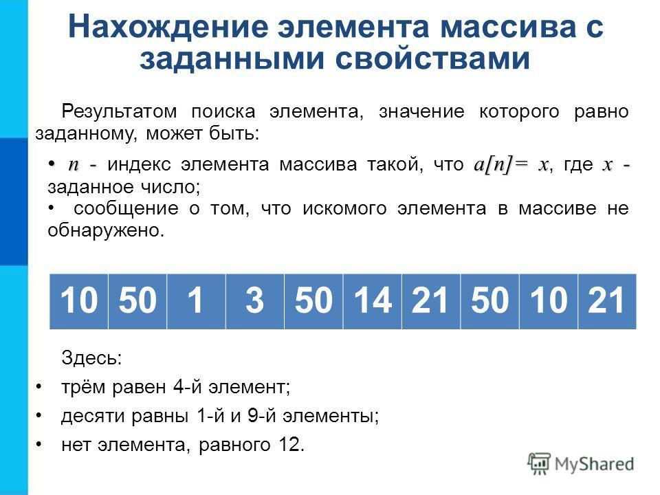 Нахождение элемента массива с заданными свойствами Результатом поиска элемента, значение которого равно заданному, может быть: n - a[n]= xх -n - индекс элемента массива такой, что a[n]= x, где х - заданное число; сообщение о том, что искомого элемент