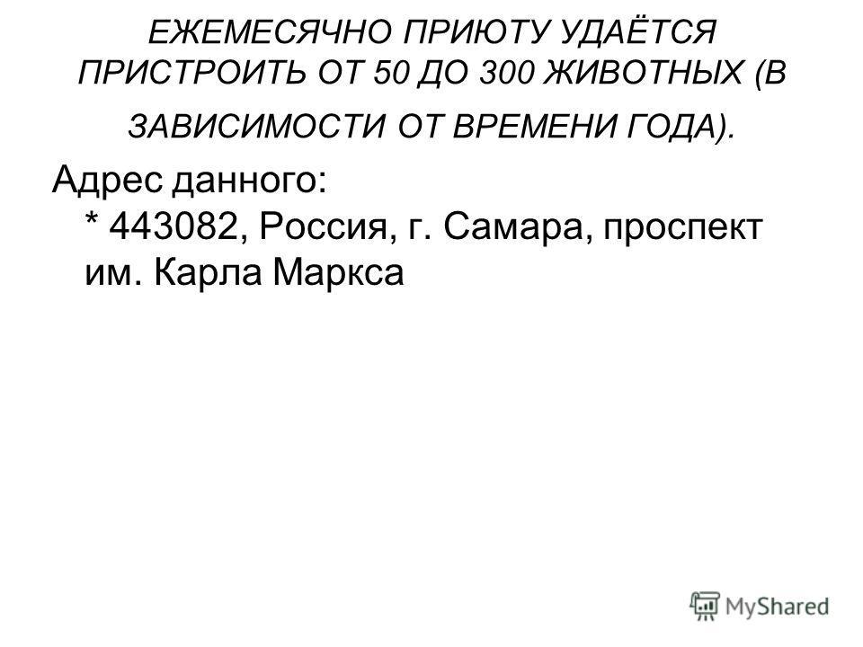 ЕЖЕМЕСЯЧНО ПРИЮТУ УДАЁТСЯ ПРИСТРОИТЬ ОТ 50 ДО 300 ЖИВОТНЫХ (В ЗАВИСИМОСТИ ОТ ВРЕМЕНИ ГОДА). Адрес данного: * 443082, Россия, г. Самара, проспект им. Карла Маркса