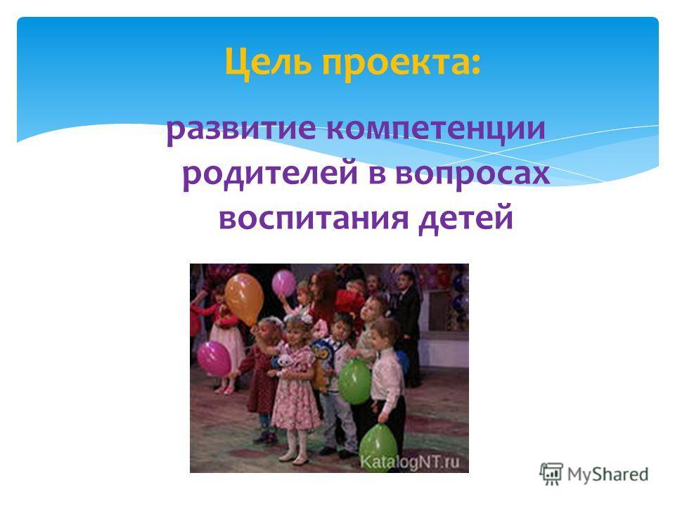 развитие компетенции родителей в вопросах воспитания детей Цель проекта: