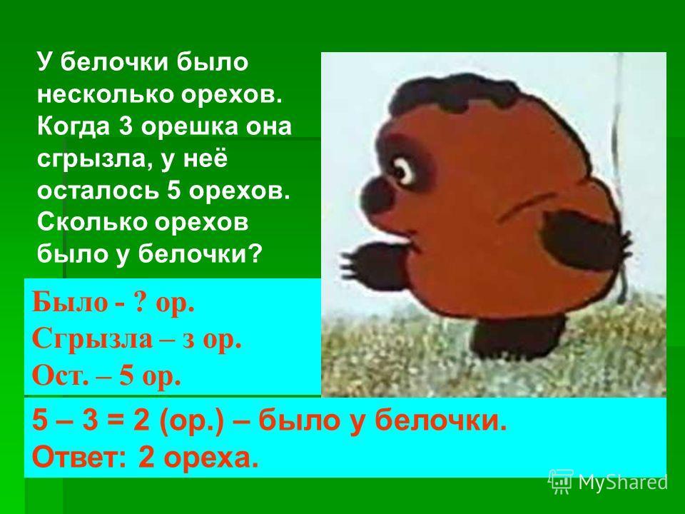 У белочки было несколько орехов. Когда 3 орешка она сгрызла, у неё осталось 5 орехов. Сколько орехов было у белочки? 5 – 3 = 2 (ор.) – было у белочки. Ответ: 2 ореха. Было - ? ор. Сгрызла – з ор. Ост. – 5 ор.