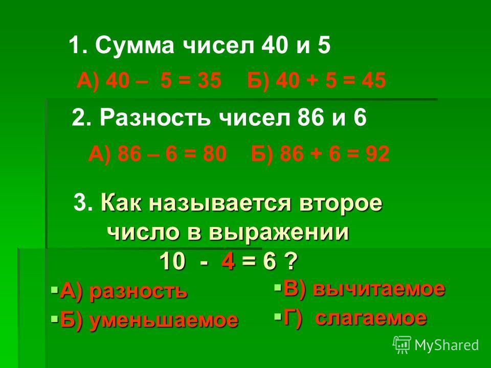 1. Сумма чисел 40 и 5 А) 40 – 5 = 35Б) 40 + 5 = 45 2. Разность чисел 86 и 6 А) 86 – 6 = 80Б) 86 + 6 = 92 Как называется второе число в выражении 10 - 4 = 6 ? 3. Как называется второе число в выражении 10 - 4 = 6 ? А) разность А) разность Б) уменьшаем