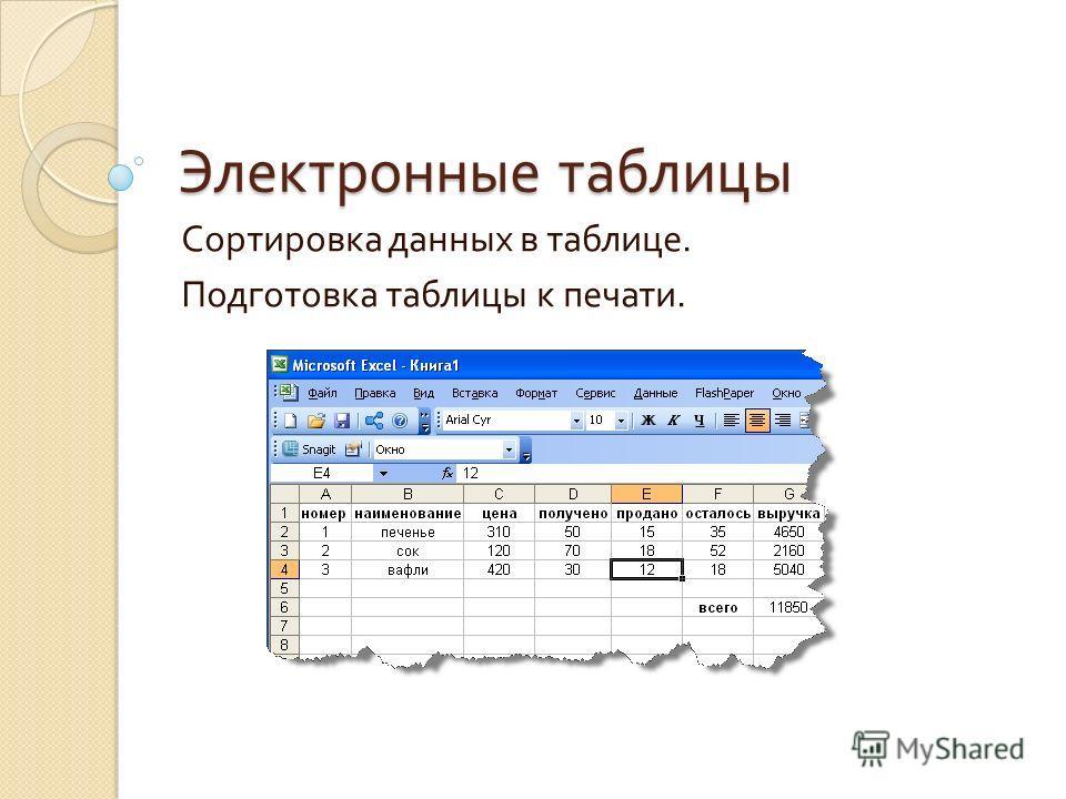 Электронные таблицы Сортировка данных в таблице. Подготовка таблицы к печати.