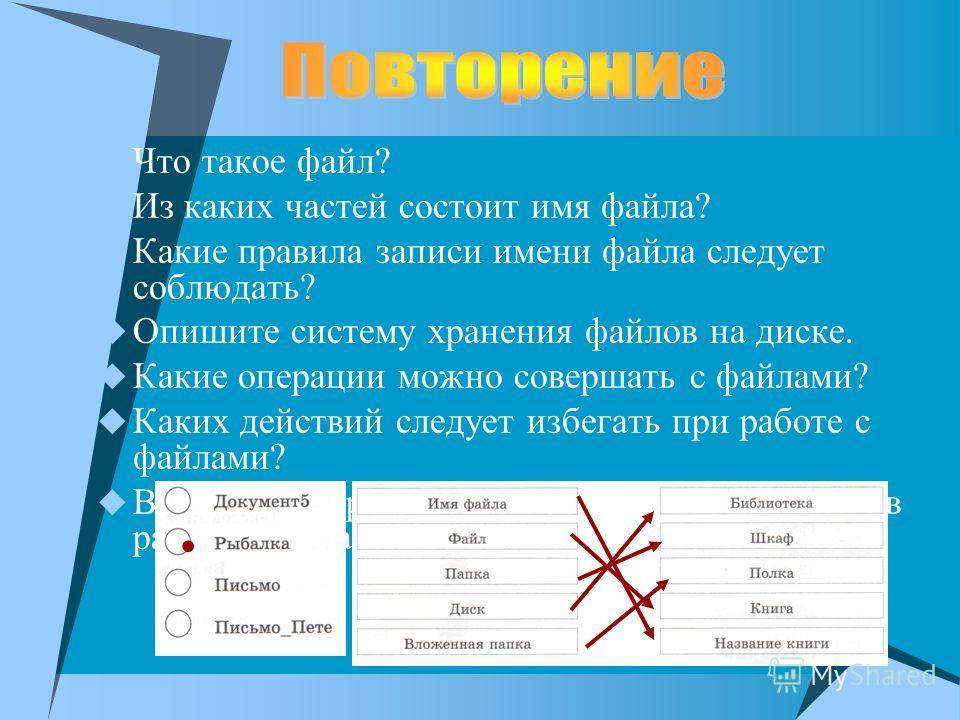 Что такое файл? Из каких частей состоит имя файла? Какие правила записи имени файла следует соблюдать? Опишите систему хранения файлов на диске. Какие операции можно совершать с файлами? Каких действий следует избегать при работе с файлами? Визуальна