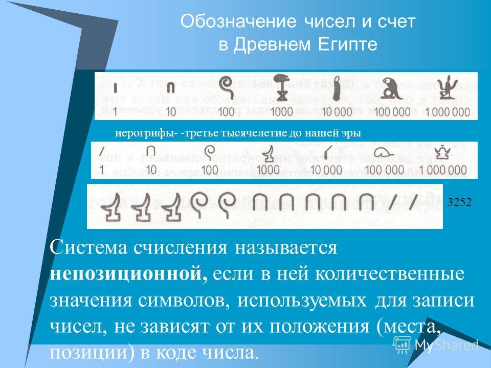 Обозначение чисел и счет в Древнем Египте иерогрифы- -третье тысячелетие до нашей эры 3252 Система счисления называется непозиционной, если в ней количественные значения символов, используемых для записи чисел, не зависят от их положения (места, пози