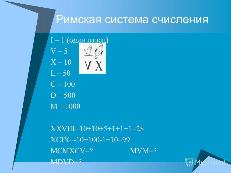Римская система счисления I – 1 (один палец) V – 5 X – 10 L – 50 C – 100 D – 500 M – 1000 XXVIII=10+10+5+1+1+1=28 XCIX=-10+100-1+10=99 MCMXCV=? MVM=? MDVD=?