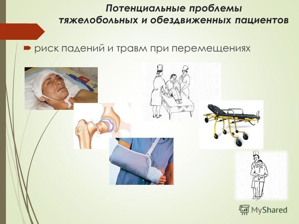 Потенциальные проблемы тяжелобольных и обездвиженных пациентов риск падений и травм при перемещениях