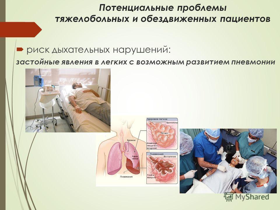 Потенциальные проблемы тяжелобольных и обездвиженных пациентов риск дыхательных нарушений: застойные явления в легких с возможным развитием пневмонии