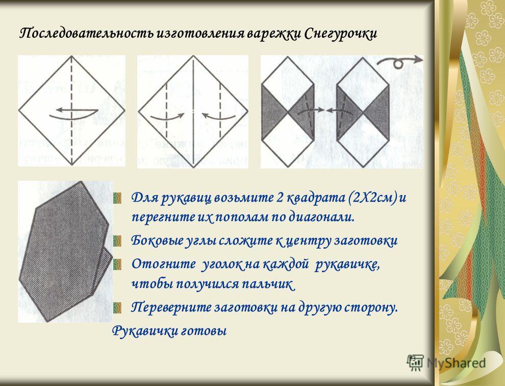 13 Последовательность изготовления варежки Снегурочки Для рукавиц возьмите 2 квадрата (2Х2см) и перегните их пополам по диагонали. Боковые углы сложите к центру заготовки Отогните уголок на каждой рукавичке, чтобы получился пальчик Переверните загото