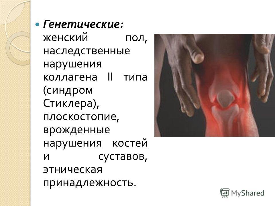 Генетические : женский пол, наследственные нарушения коллагена ІІ типа ( синдром Стиклера ), плоскостопие, врожденные нарушения костей и суставов, этническая принадлежность.