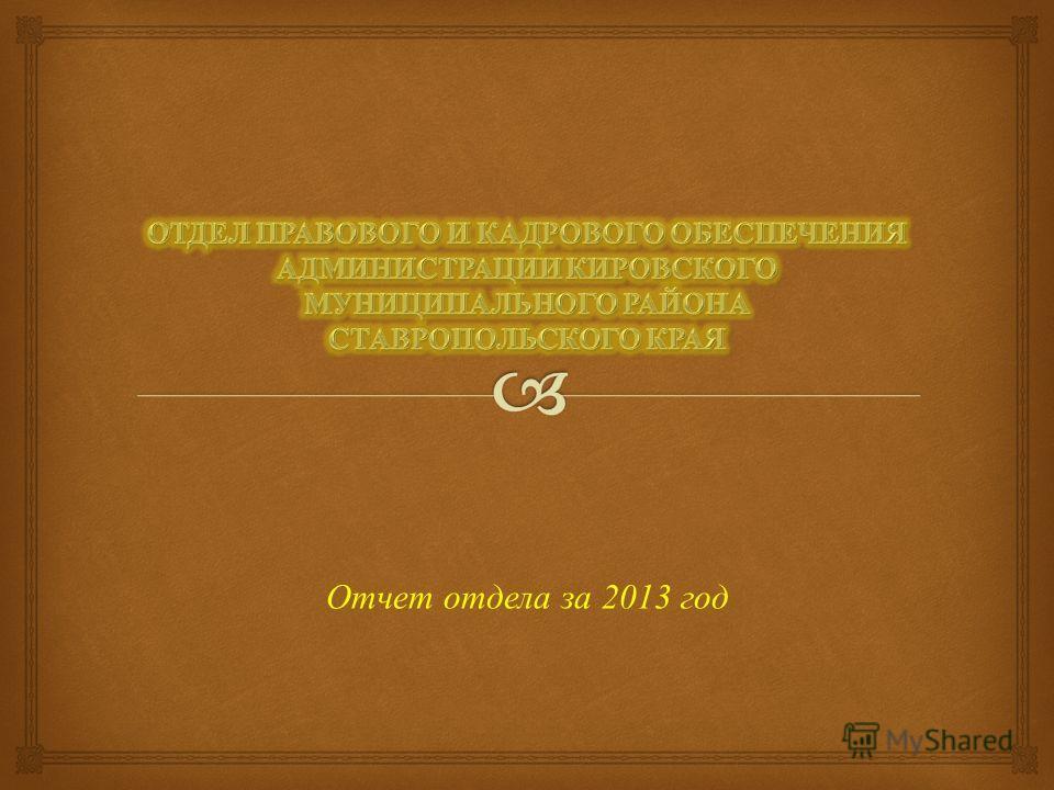 Отчет отдела за 2013 год