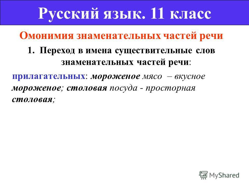 Омонимия знаменательных частей речи 1. Переход в имена существительные слов знаменательных частей речи: прилагательных: мороженое мясо – вкусное мороженое; столовая посуда - просторная столовая; Русский язык. 11 класс