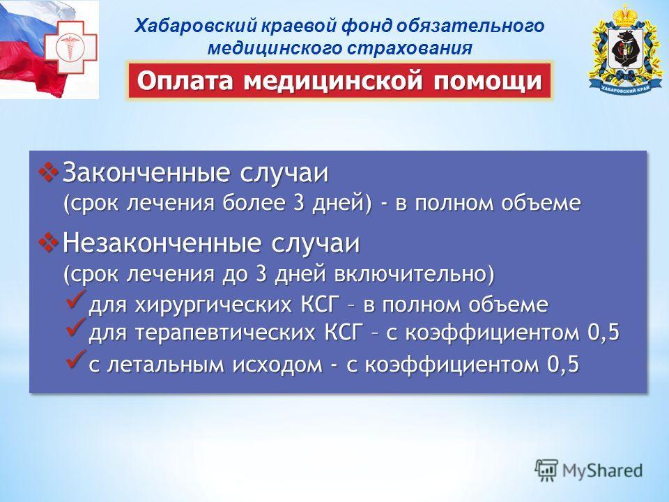 Хабаровский краевой фонд обязательного медицинского страхования Оплата медицинской помощи