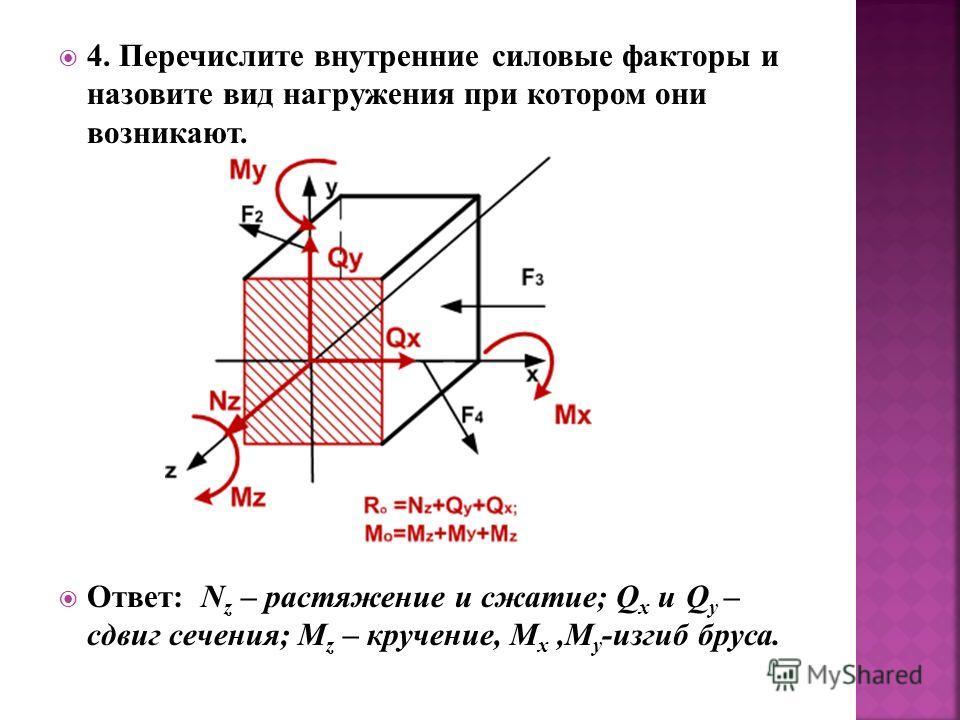 4. Перечислите внутренние силовые факторы и назовите вид нагружения при котором они возникают. Ответ: N z – растяжение и сжатие; Q x и Q y – сдвиг сечения; M z – кручение, M x,M y -изгиб бруса.