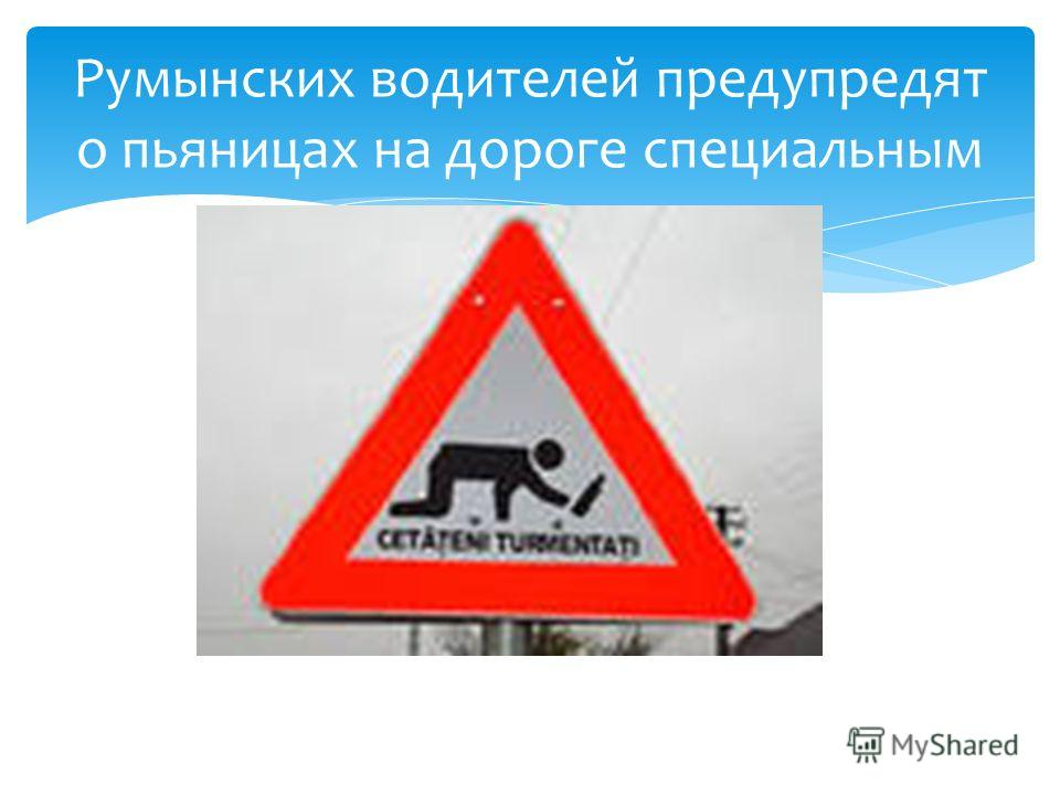 Румынских водителей предупредят о пьяницах на дороге специальным