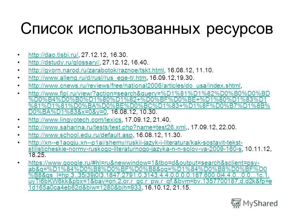Список использованных ресурсов http://dao.tisbi.ru/, 27.12.12, 16.30.http://dao.tisbi.ru/ http://dstudy.ru/glossary/, 27.12.12, 16.40.http://dstudy.ru/glossary/ http://gvorn.narod.ru/zarabotok/raznoe/tskt.html, 16.08.12, 11.10.http://gvorn.narod.ru/z