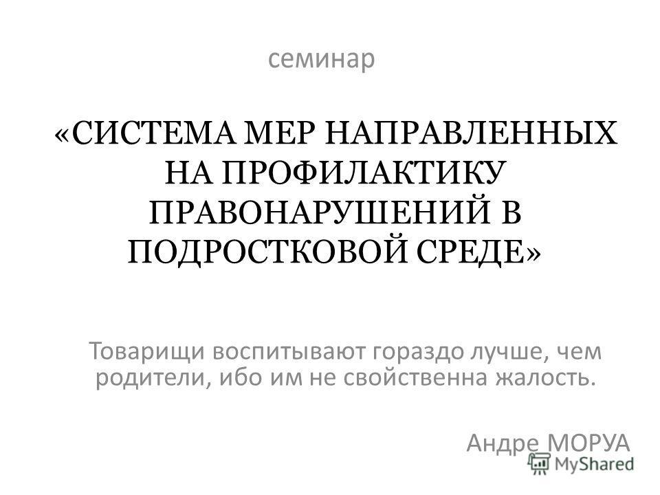 «СИСТЕМА МЕР НАПРАВЛЕННЫХ НА ПРОФИЛАКТИКУ ПРАВОНАРУШЕНИЙ В ПОДРОСТКОВОЙ СРЕДЕ» Товарищи воспитывают гораздо лучше, чем родители, ибо им не свойственна жалость. Андре МОРУА