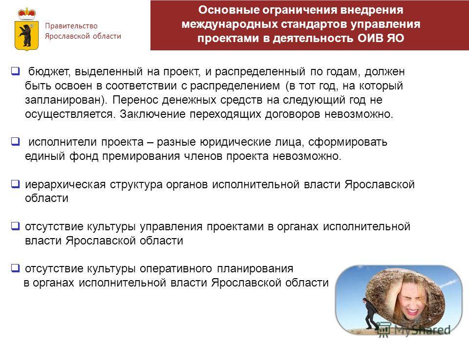 Основные ограничения внедрения международных стандартов управления проектами в деятельность ОИВ ЯО Правительство Ярославской области бюджет, выделенный на проект, и распределенный по годам, должен быть освоен в соответствии с распределением (в тот го