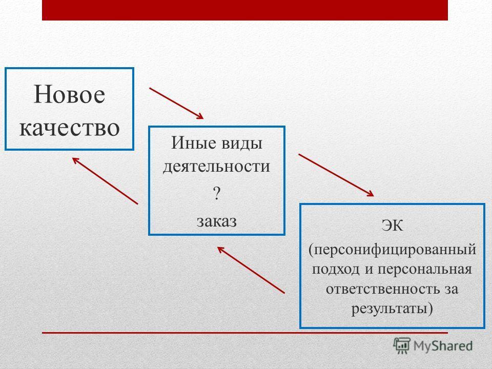 Новое качество Иные виды деятельности ? заказ ЭК (персонифицированный подход и персональная ответственность за результаты)