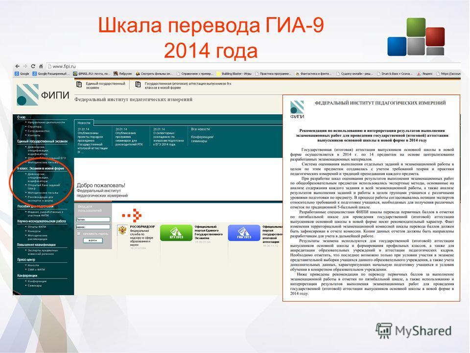 Шкала перевода ГИА-9 2014 года