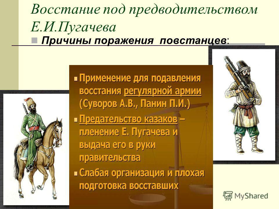Восстание под предводительством Е.И.Пугачева Причины поражения повстанцев: