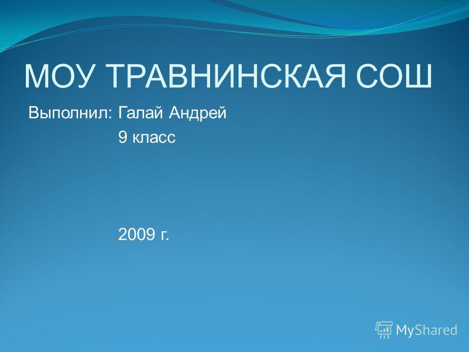 МОУ ТРАВНИНСКАЯ СОШ Выполнил: Галай Андрей 9 класс 2009 г.
