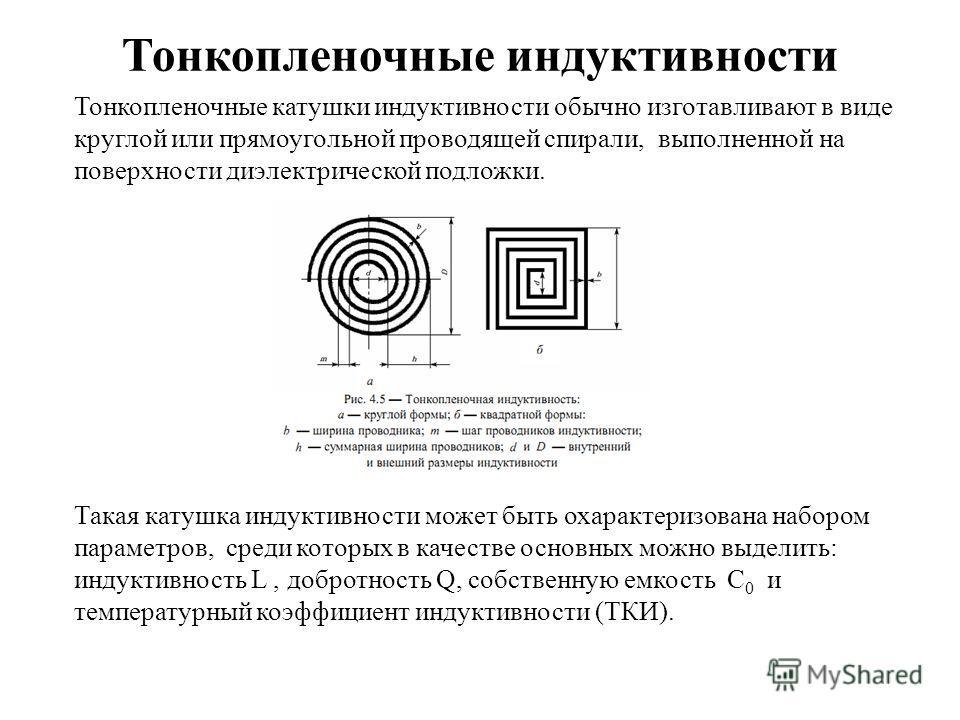 Тонкопленочные индуктивности Тонкопленочные катушки индуктивности обычно изготавливают в виде круглой или прямоугольной проводящей спирали, выполненной на поверхности диэлектрической подложки. Такая катушка индуктивности может быть охарактеризована н