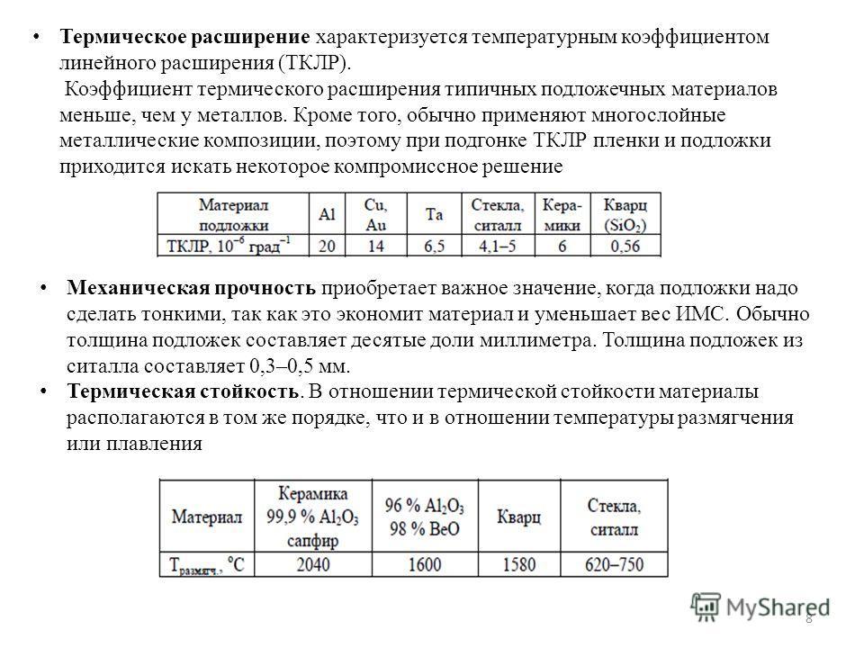 8 Термическое расширение характеризуется температурным коэффициентом линейного расширения (ТКЛР). Коэффициент термического расширения типичных подложечных материалов меньше, чем у металлов. Кроме того, обычно применяют многослойные металлические комп