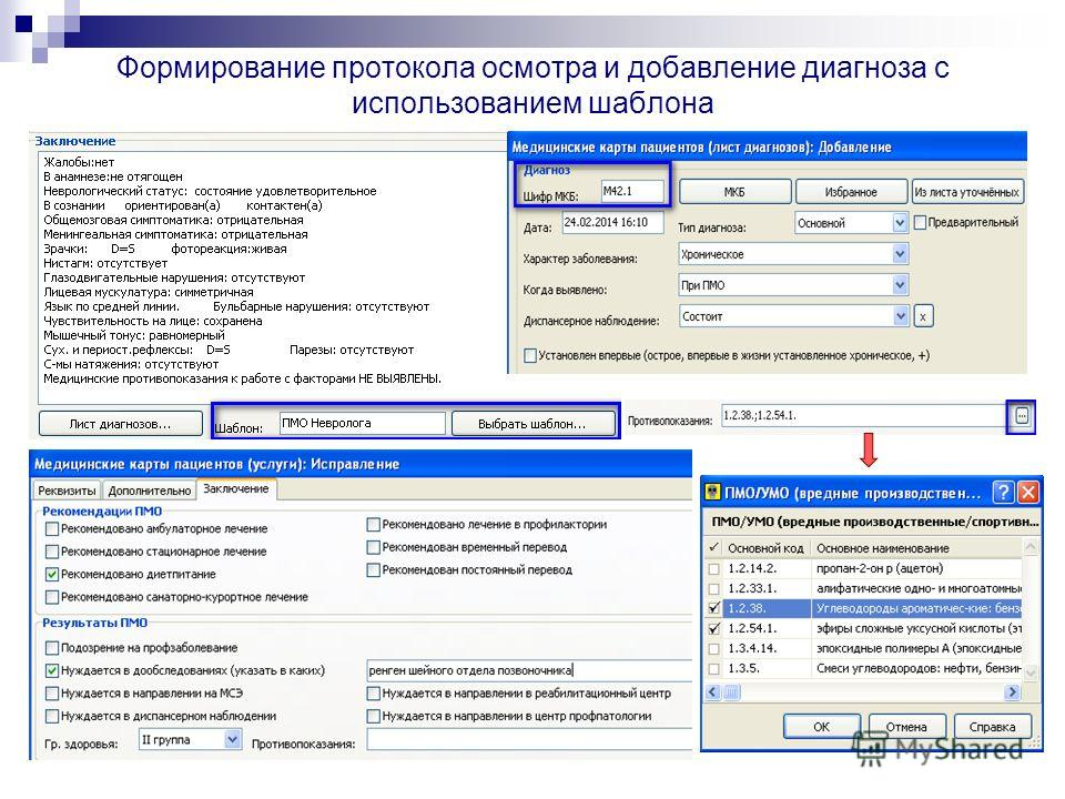 Формирование протокола осмотра и добавление диагноза с использованием шаблона