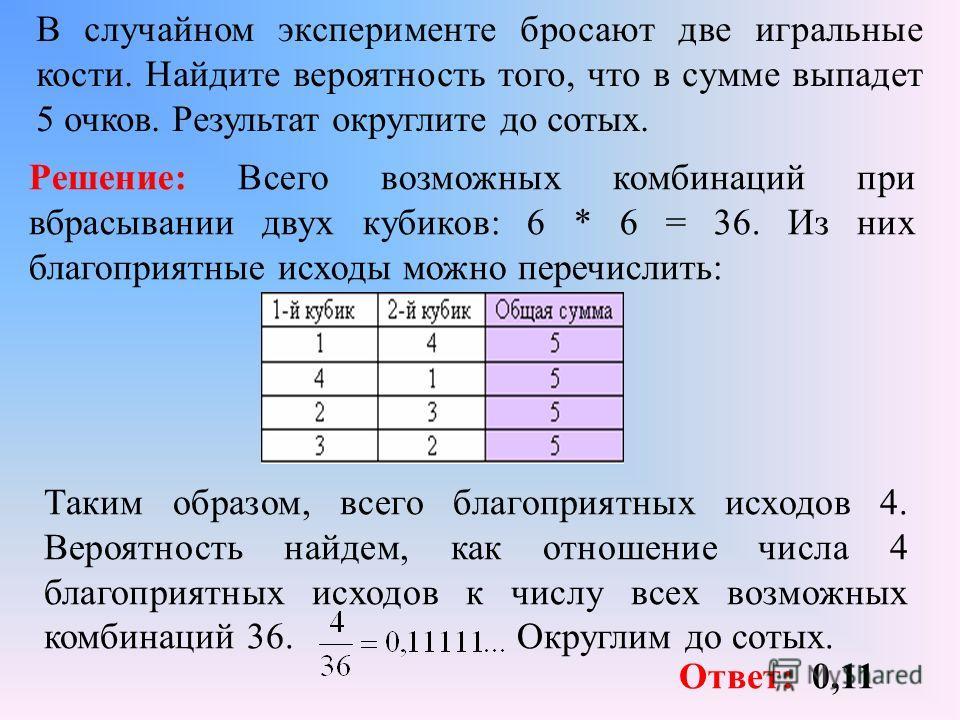 В случайном эксперименте бросают две игральные кости. Найдите вероятность того, что в сумме выпадет 5 очков. Результат округлите до сотых. Решение: Всего возможных комбинаций при вбрасывании двух кубиков: 6 * 6 = 36. Из них благоприятные исходы можно