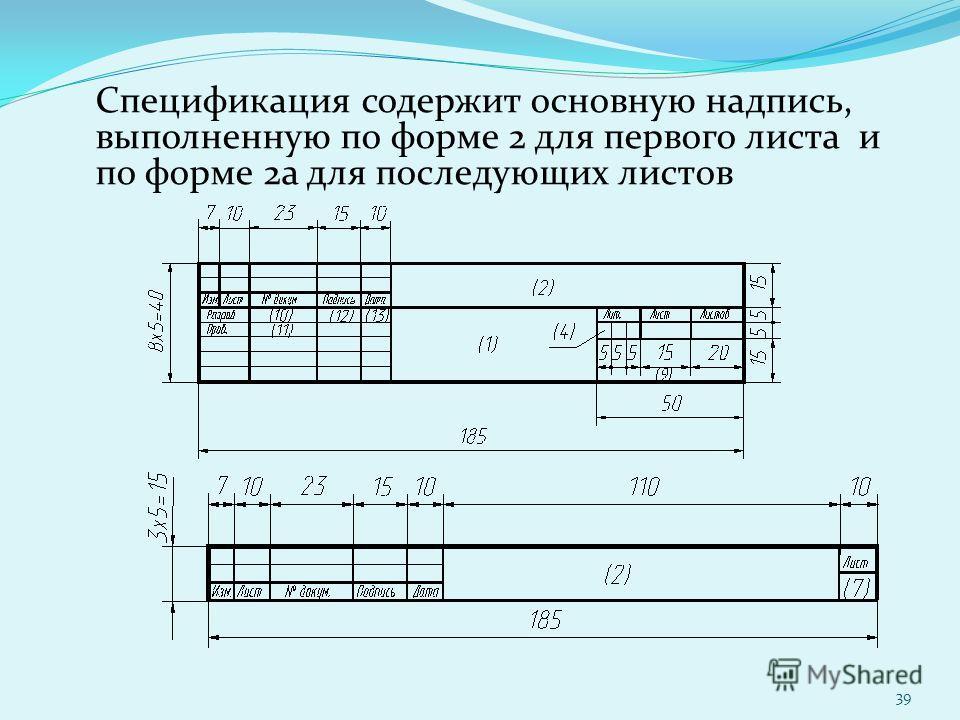 Спецификация содержит основную надпись, выполненную по форме 2 для первого листа и по форме 2а для последующих листов 39