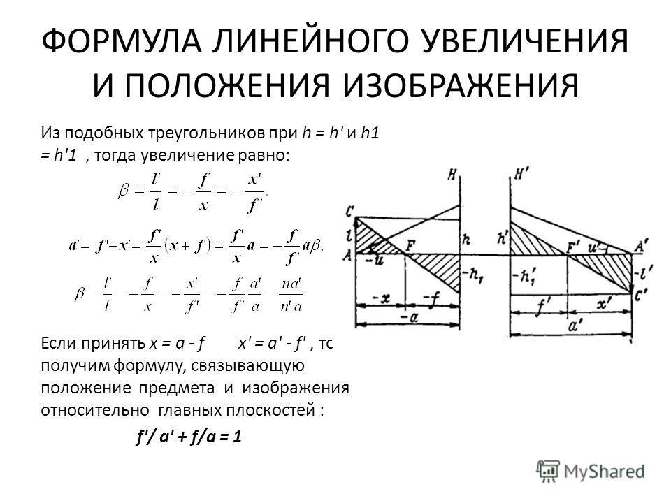 ФОРМУЛА ЛИНЕЙНОГО УВЕЛИЧЕНИЯ И ПОЛОЖЕНИЯ ИЗОБРАЖЕНИЯ Из подобных треугольников при h = h' и h1 = h'1, тогда увеличение равно: Если принять х = a - f x' = a' - f', то получим формулу, связывающую положение предмета и изображения относительно главных п