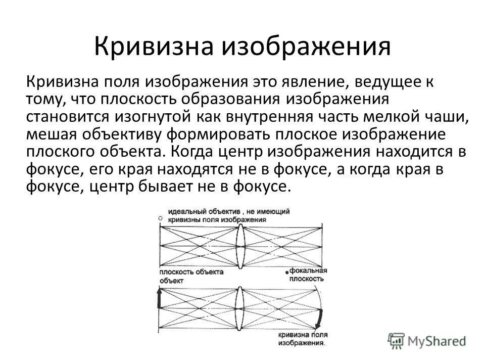 Кривизна изображения Кривизна поля изображения это явление, ведущее к тому, что плоскость образования изображения становится изогнутой как внутренняя часть мелкой чаши, мешая объективу формировать плоское изображение плоского объекта. Когда центр изо