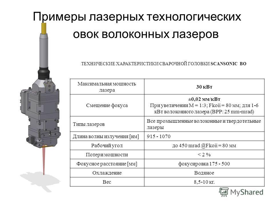 Примеры лазерных технологических головок волоконных лазеров ТЕХНИЧЕСКИЕ ХАРАКТЕРИСТИКИ СВАРОЧНОЙ ГОЛОВКИ SCANSONIC BO Максимальная мощность лазера 30 кВт Смещение фокуса ±0,02 мм/кВт При увеличении M = 1:3; Fkoii = 80 мм; для 1-6 кВт волоконного лазе