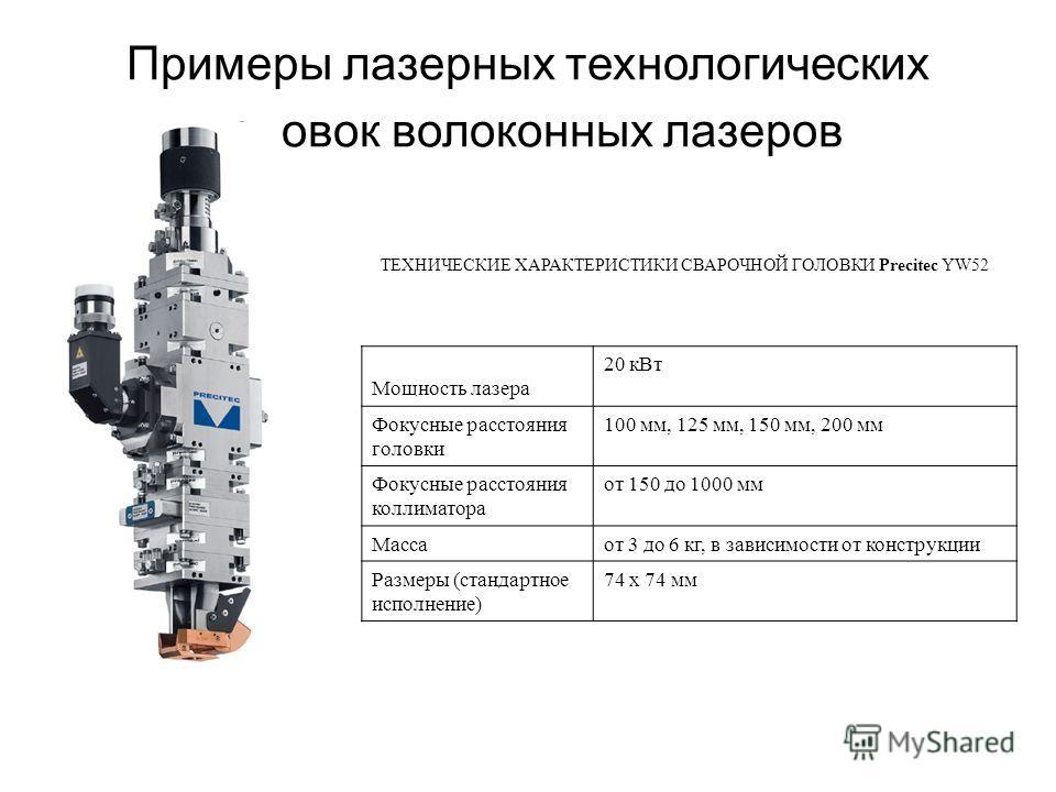 Примеры лазерных технологических головок волоконных лазеров ТЕХНИЧЕСКИЕ ХАРАКТЕРИСТИКИ СВАРОЧНОЙ ГОЛОВКИ Precitec YW52 Мощность лазера 20 кВт Фокусные расстояния головки 100 мм, 125 мм, 150 мм, 200 мм Фокусные расстояния коллиматора от 150 до 1000 мм