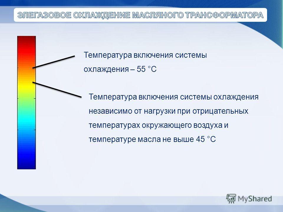 Температура включения системы охлаждения независимо от нагрузки при отрицательных температурах окружающего воздуха и температуре масла не выше 45 °С Температура включения системы охлаждения – 55 °С