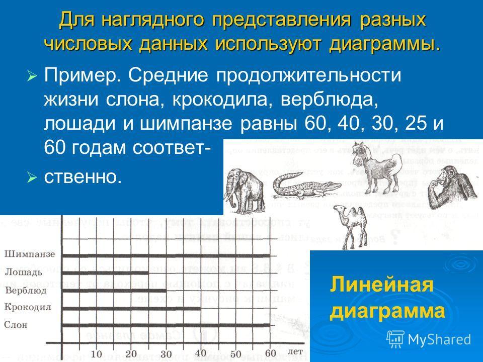 Для наглядного представления разных числовых данных используют диаграммы. Пример. Средние продолжительности жизни слона, крокодила, верблюда, лошади и шимпанзе равны 60, 40, 30, 25 и 60 годам соответ- ственно. Линейная диаграмма